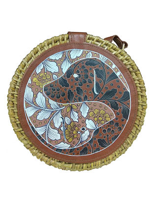 Brown Handpainted Cane Vegan Leather Sling Bag