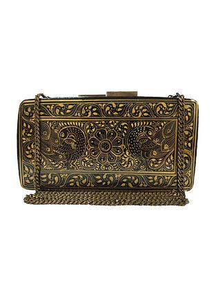 Black Gold Handpainted Paper Mache Clutch
