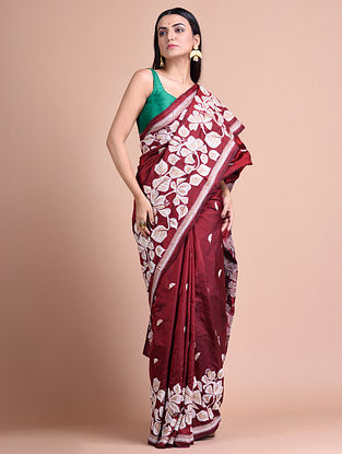 Maroon Kantha Embroidered  Silk Saree