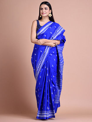Blue Kantha Embroidered  Silk Saree
