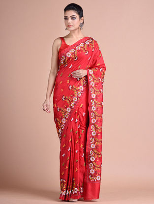 Red Kantha Embroidered  Silk Saree