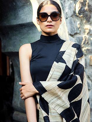 Black Handwoven Block Printed  Tussar Silk Dupatta