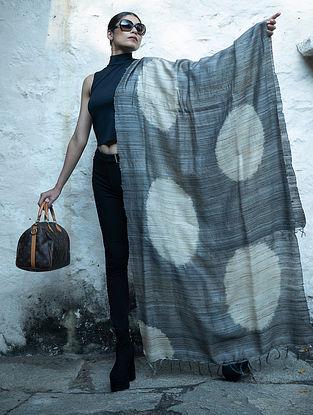 Grey Handwoven Block Printed  Tussar Silk Dupatta