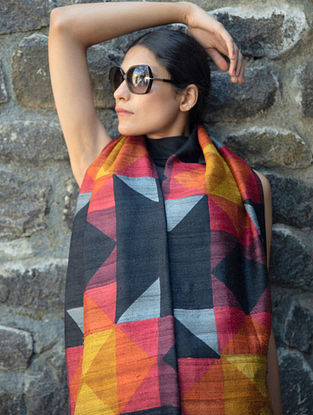 Multicolour Handwoven Block Printed  Tussar Silk Dupatta