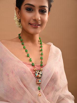 Multicolored Gold Tone Navratan Beaded Necklace