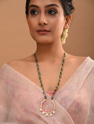 Pink Green Gold Tone Beaded Jadau Necklace With Pearls