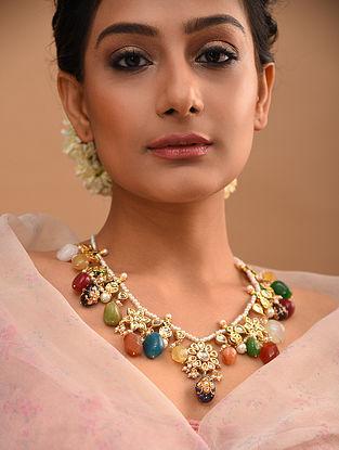 Multicolored Gold Tone Beaded Kundan Necklace