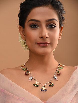 Multicolored Gold Tone Kundan Beaded Necklace