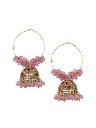 Pink Gold Tone Handcrafted Jhumki Hoop Earrings