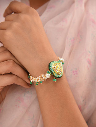 Green White Enameled Bracelet With Onyx