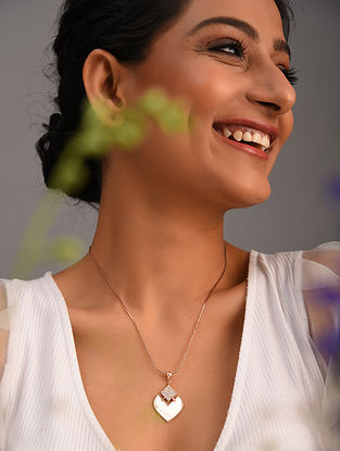 White Gold Tone Handcrafted Pendant And Chain  With Mother Of Pearl
