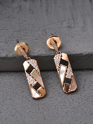 White Gold Tone Handcrafted Earrings With Mother Of Pearl