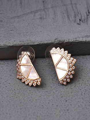 White Rose Gold Tone Handcrafted Earrings With Mother Pearl