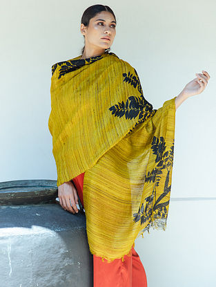 Yellow Handwoven Block Printed  Tussar Silk Dupatta