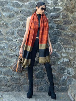 Orange Handwoven Block Printed  Tussar Silk Dupatta
