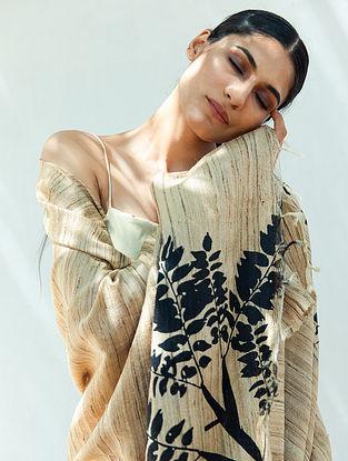Off White Handwoven Block Printed  Tussar Silk Dupatta