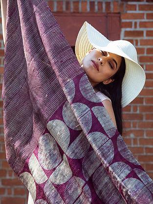Purple Handwoven Block Printed  Tussar Silk Dupatta
