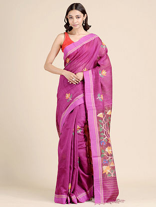 Purple Handwoven Dhakai Jamdani  Matka Silk Saree