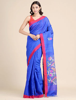 Blue Handwoven Dhakai Jamdani  Matka Silk Saree
