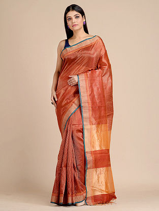 Orange Handwoven  Matka Silk Saree