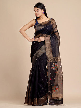 Black Handwoven  Matka Silk Saree