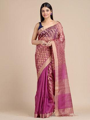 Pink Handwoven  Matka Silk Saree