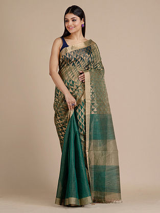 Green Handwoven  Matka Silk Saree