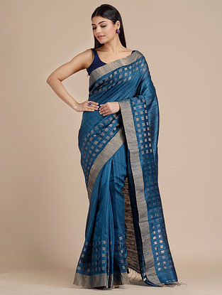 Blue Handwoven  Matka Silk Saree
