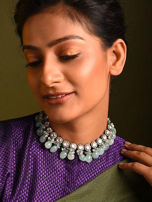 Mint Green Silver Tone Kundan Rhodium Tone Necklace