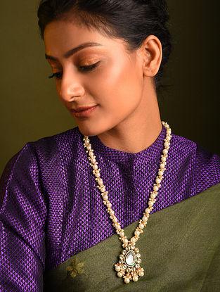 White Gold Tone Kundan Beaded Necklace