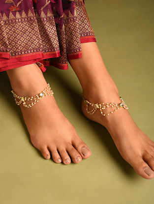 White Gold Tone Pearl Beaded Anklets