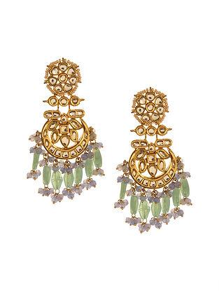 Mint Green Purple Gold Tone Kundan Earrings