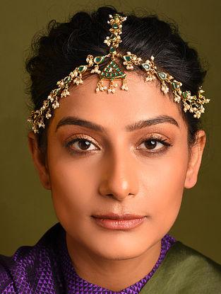Green Gold Tone Kundan Maathapatti