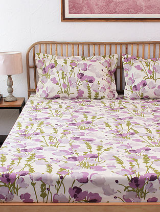 Himalayan Poppies 100% Cotton Purple Printed Bed Sheet Set