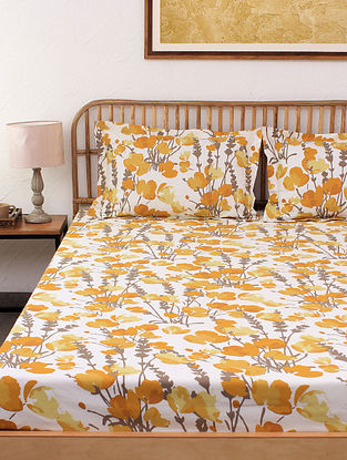Himalayan Poppies 100% Cotton Yellow Printed Bed Sheet Set