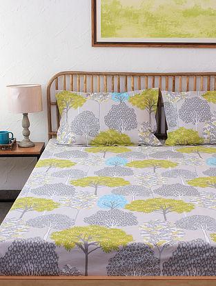 Saptaparni 100% Cotton Green Printed Bed Sheet Set