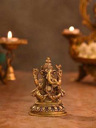 Brass Ganesha Idol (L- 2.1in, W-2.5in, H-3.6in)