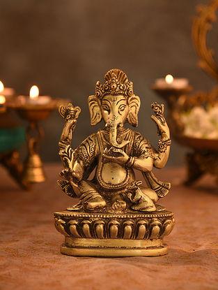 Brass Ganesha Idol (L- 2.5in, W-4in, H-6in)