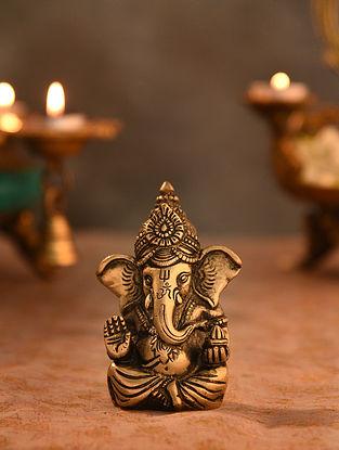 Brass Ganesha Idol (L- 1.6in, W-3in, H-4.1in)