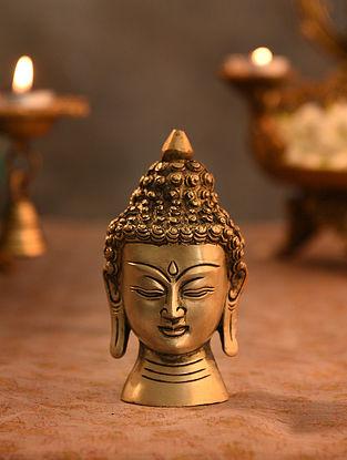 Brass Buddha Idol With Round Base (L- 4.7in, W-3in)