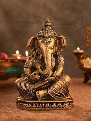 Brass Ganesha Idol (L- 3.2in, W-5.7in, H-9.7in)