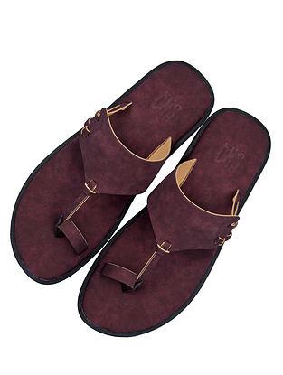 Maroon Handcrafted Leather Kolhapuri For Men