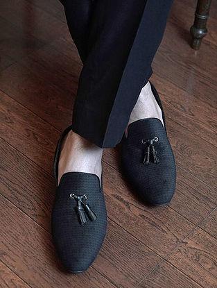 Dark Grey Handcrafted Velvet Shoes for Men