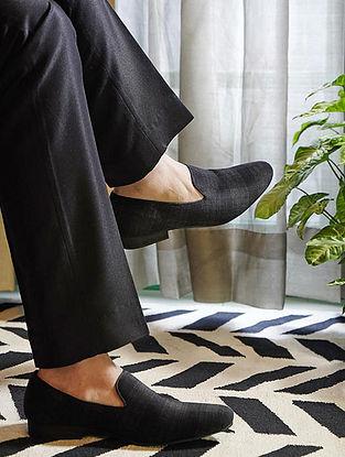 Black Handcrafted Velvet Shoes for Men