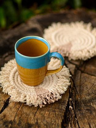 Offwhite Beige Cotton Macrame Coasters (Set of 2)