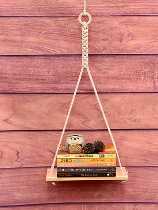 White Macrame Pencing Rectangle Hanging Wall Shelf