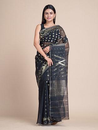 Black Handwoven Jamdani  Silk Cotton Saree