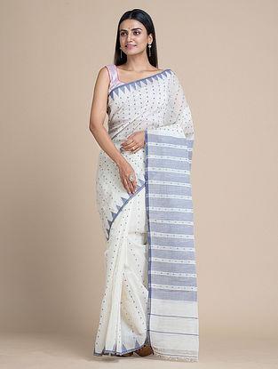White Handwoven Jamdani  Silk Cotton Saree