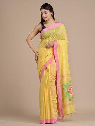 Yellow Handwoven  Cotton Saree