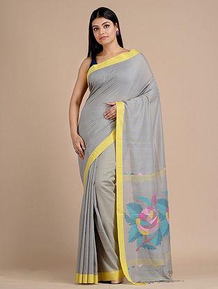 Grey Handwoven  Cotton Saree